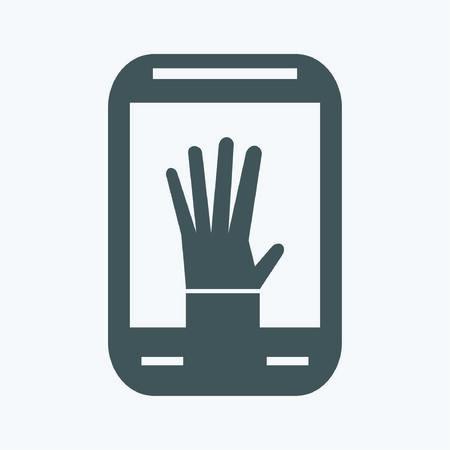 smartphone mano: Smartphone con l'icona della mano Vettoriali