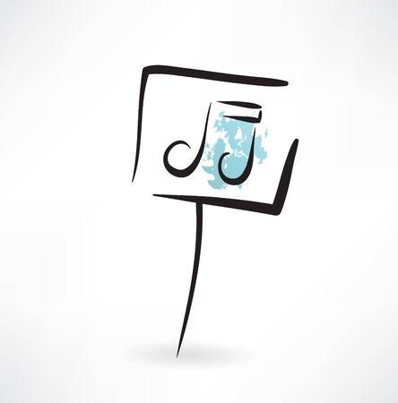 melodies: music note grunge icon Illustration