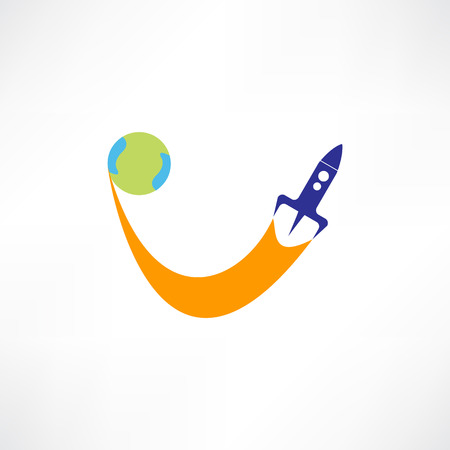Flying rocket icon