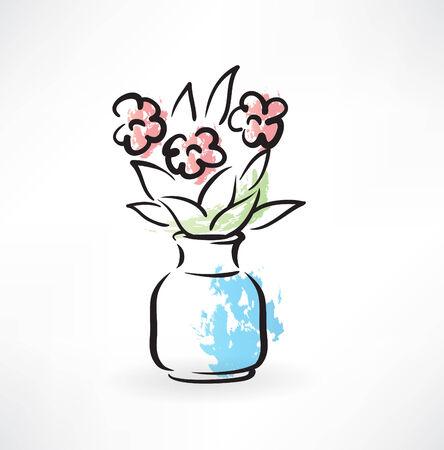 bouquet in a vase grunge icon Illustration