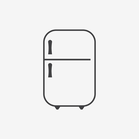Icon of refrigerator on Glossy Button.   Vector