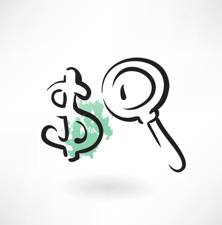 searching for money grunge icon Vector