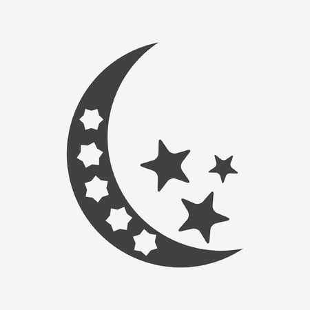 night stick: Moon and stars at night - Vector icon isolated