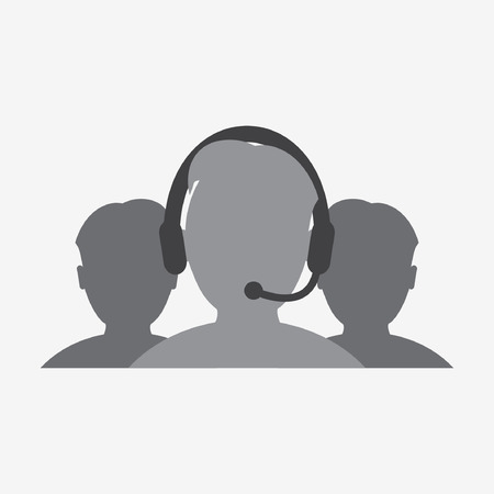 worker with a microphone and headphones icon