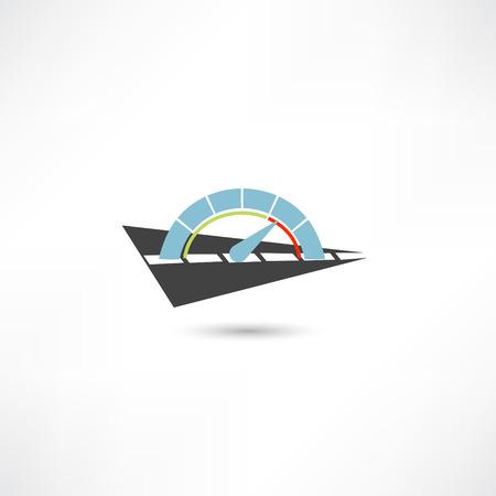 compteur de vitesse: tachymètre icône Illustration
