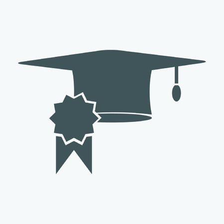 graduation cap and diploma certificate colorful flat style vector illustration Illustration
