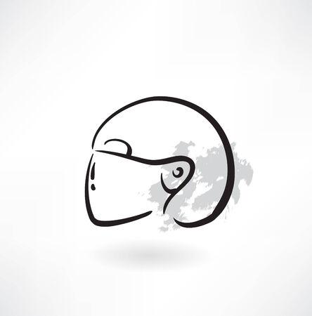 extreme helmet grunge icon Vector