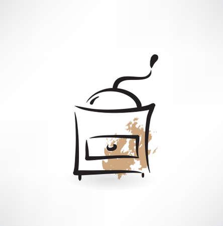 coffee grinder: coffee mill grunge icon