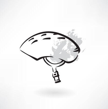 bicycle helmet: extreme helmet grunge icon Illustration