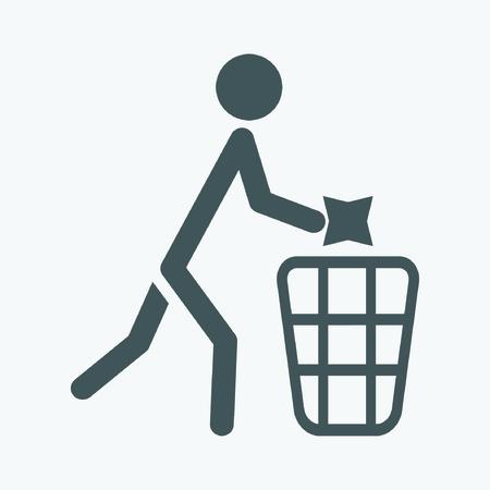botar basura: No tire basura signo vector, ilustración Vectores