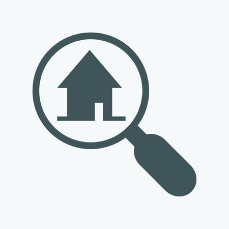 chosen: Finding a home. magnifying glass and house icon