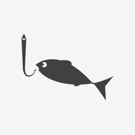 Vector set of various stylized icons for fishing Ilustração