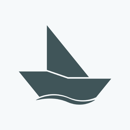 fishing boats: Sailboat icon Illustration