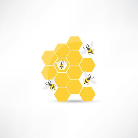 Honey and bee icon 일러스트