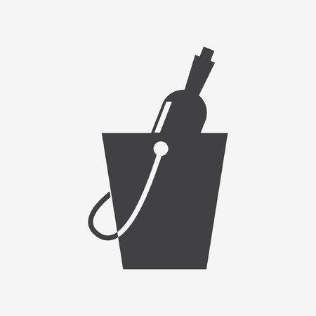 chilled: champagne in ice bucket Illustration