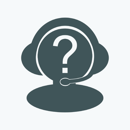 handsfree: technical support man with headphones and a microphone icon Illustration