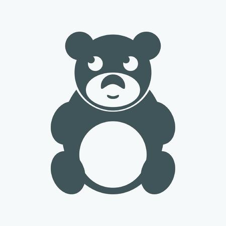 Cute black teddy bear icon on white background Vector
