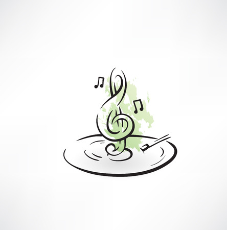 key signature: treble clef grunge icon