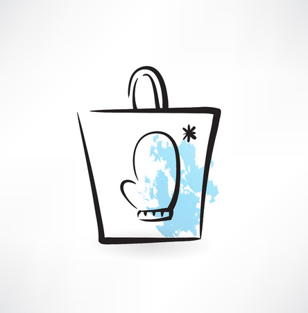 mittens in a paper bag grunge icon Illustration