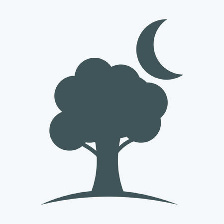 myrtle: tree and moon icons Illustration