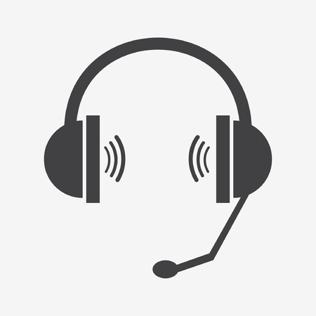 headset symbol: Classic headphones with microphone. Vector eps10 illustration