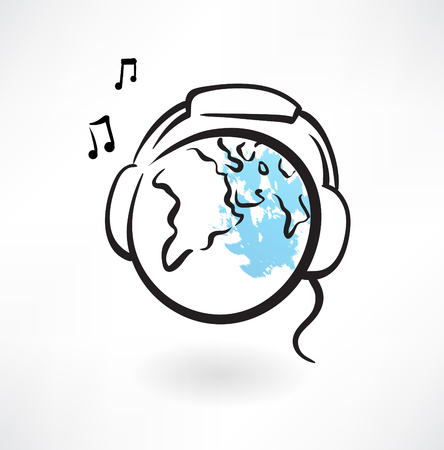 earth with earphones grunge Vector