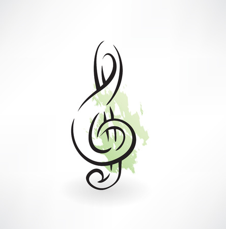 notation: treble clef grunge icon