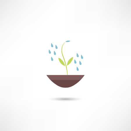 watering plants: Watering plants icon Illustration