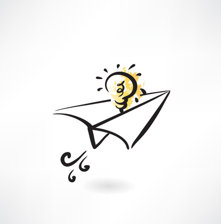 paper airplane and light bulb grunge icon Vettoriali