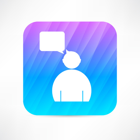 socialize: man speaking icon Illustration