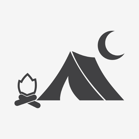 Tent fire moon icon Vector