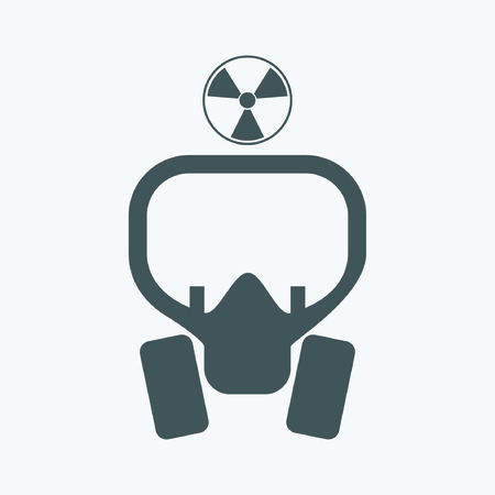 gas mask danger sign: radiation mask icon