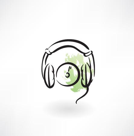 ear phones: earphones grunge icon Illustration