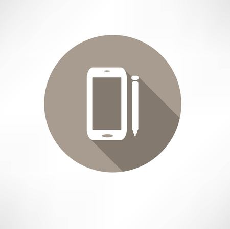 stylus: smartphone with a stylus icon Illustration