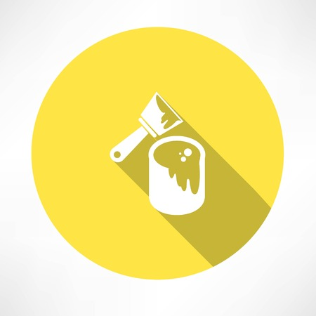 paint can: brush with a can of paint icon