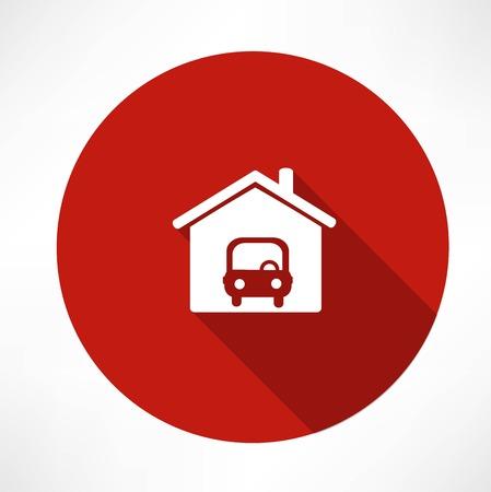 car in the garage icon Illusztráció