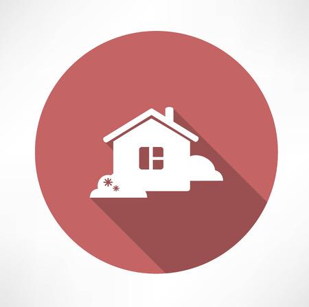 house with shrubs icon