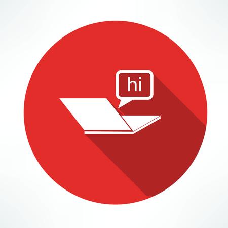 over the shoulder: laptop, chat icon Illustration