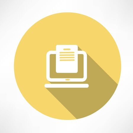file transfer: Downloading dcuments in laptop icon Illustration