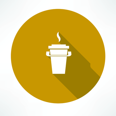 cream tea: paper coffee cup icon Illustration