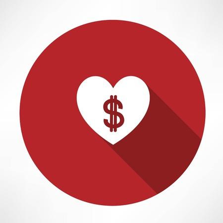 Money heart icon Vector