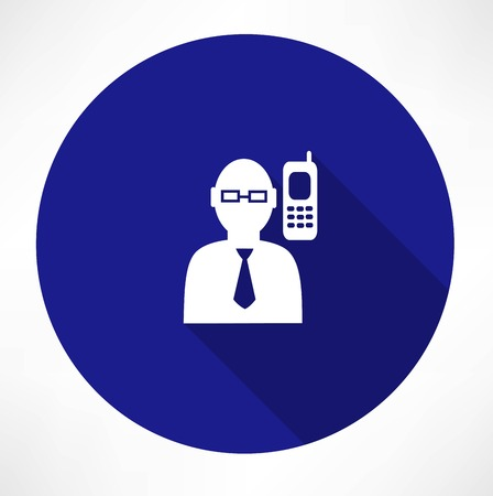 Businessman talking on a phone icon