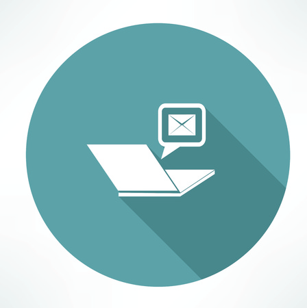 laptop and mail icon Illustration