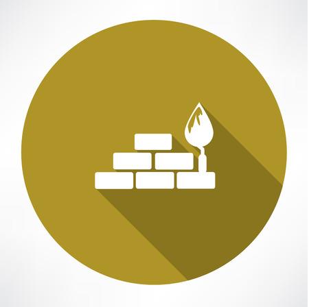 bricks and trowel icon Vector