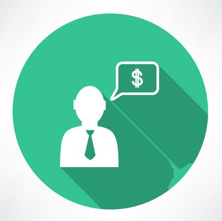 referral: businessman talk about money icon Illustration