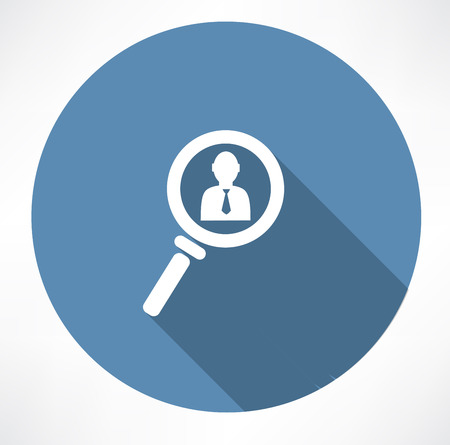 executive search: businessman in the magnifying glass icon