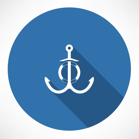 anchored: anchor and Life Buoy  Illustration