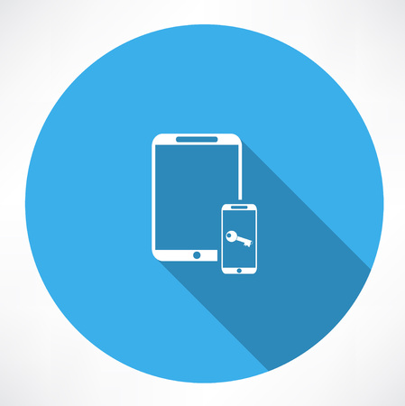 smartphone icon: tablet and smartphone with a key icon