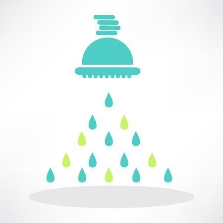 水の滴をフレームで分離されたシャワー ヘッド