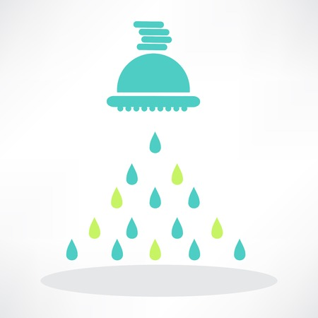 washstand: isolated shower head in frame with water drops Illustration